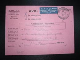 AR Vignette PAR AVION Pour La FRANCE OBL.13-2 1974 TANANARIVE RP MADAGASCAR - Marcofilie (Brieven)