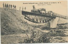 68-344 Россия Russia Russland Siberia Railway Bridge Over River Military Marking - Russia