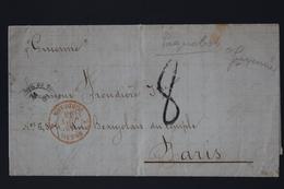 France Lettre Bresil - Bordeaux Paquetbot Rio De Janeiro -> Paris 1866 CAD BRESIL BORDEAUX Rouge - Marcofilie (Brieven)