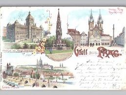 Gruss Aus Prag Farblltho Verlag Schwager Dresden 1898 - Tsjechië