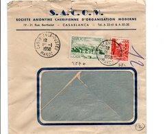 MAROC AFFRANCHISSEMENT COMPOSE SUR LETTRE A EN TETE DE  DE CASABLANCA POUR LA FRANCE 1950 - Lettres & Documents