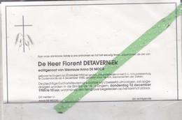 Overlijdensbrief Florent Detavernier-De Moor, Geboren Zingem 1902, Overleden Oudenaarde 1985 - Décès