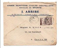 MAROC LETTRE A EN TETE DE  DE CASABLANCA POUR LA FRANCE 1945 - Lettres & Documents