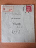 Recommandé Avec AR Paris Vers St Peray (Ardèche) - Timbre Paix 1f75 YT N°289 Perforé C.V. - 1934 - Ob. Hexagonale - 1932-39 Paix