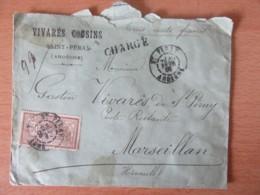 """Enveloppe Chargée St Péray Vers Marseillan - Timbre Merson 50c YT N°120 (TB Centrage) - Marque Linéaire """"Chargé"""" - 1906 - Postmark Collection (Covers)"""