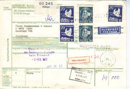 Schweden, Paketkarte Aus 1977 über Flugpost-Sendung Von Arboga Nach Wien, Frankiert Teilweise Mit Sondermarken (9158W) - Sweden