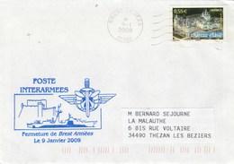 Fermeture De BREST ARMEES  Cachet Flamme 9/1/2009 - Poste Interarmées - Poststempel (Briefe)