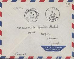 FM Marine Agence Embarquée Porte Avion Arromanches 11 3 54 CAD Poste Navale 11 3 1954 - Marcophilie (Lettres)