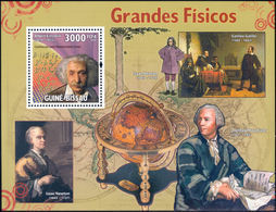 Physicists - Guinea-Bissau 2009 Michel # 4449 (Bl. 725) ** MNH - Physics, Einstein, Galilei, Newton, Euler - Physik