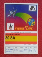 POSTAL POST CARD QSL RADIOAFICIONADOS RADIO AMATEUR SIERRA ALFA DIVISIÓNE SPAGNA SPAIN COMMUNICATIONS MILANO FLAG....... - Tarjetas QSL
