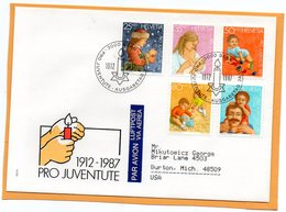 Pro Juventute Switzerland 1987 FDC Mailed Registered To USA - Pro Juventute