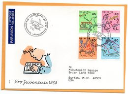 Pro Juventute Switzerland 1988 FDC Mailed Registered To USA - Pro Juventute