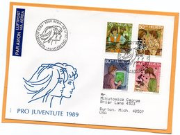 Pro Juventute Switzerland 1989 FDC Mailed Registered To USA - Pro Juventute