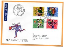 Pro Juventute Switzerland 1990 FDC Mailed Registered To USA - Pro Juventute