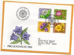Pro Juventute Switzerland 1991 FDC Mailed Registered To USA - Pro Juventute