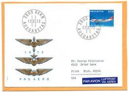 Pro Areo Switzerland 1972 FDC - Airmail