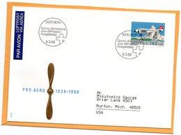 Pro Areo Switzerland 1988 FDC - Airmail