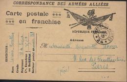 CP En Franchise FM Drapeaux Correspondance Armées Alliées CAD Trésor Postes SP 24  26 Dec 15 Guerre 14 18 - Cartes De Franchise Militaire