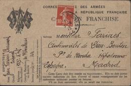 Guerre 14 18 CP Drapeaux FM Correspondance Armée République Franchise Vaguemestre Ajoute 10ct Rouge Semeuse Pr Madrid - Storia Postale