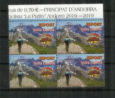 """ANDORRA. """"La Purito"""" 2019 Andorra.Course Cyclotouriste. 145 Km,avec 5 200 Mètres De Dénivelé. Bloc De 4 Neuf ** - Spanish Andorra"""