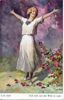"Adolf Jodolfi  -  Happy Woman Spreading Her Arms : ""Kiss Me And The World Is Mine"". - Adolf 'Jodolfi'"