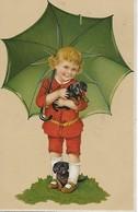 1 CPA 1908 Enfant Parapluie Vert 2 Petits Chiens - Scènes & Paysages