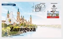 H01 Spain 2019 12 Months, 12 Stamps - Zaragoza FDC - 1931-Heute: 2. Rep. - ... Juan Carlos I