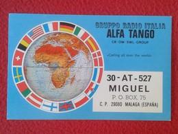POSTAL POST CARD QSL RADIOAFICIONADOS RADIO AMATEUR GRUPPO ALFA TANGO ITALIA IMAGEN MAPA MUNDI BANDERAS FLAGS VER FOTOS - Tarjetas QSL