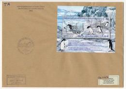 "TAAF - Enveloppe Avec Bloc Et Oblit Spéciale ""Passerelle Des Manchots Adelie 2012"" Dumont D'Urville 02/11/2012 - 62eme E - Franse Zuidelijke En Antarctische Gebieden (TAAF)"