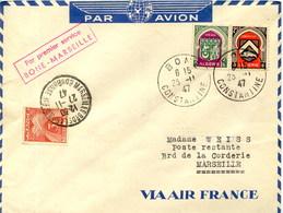 Aérophilatélie-Par Premier Service BONE-MARSEILLE Par Air-France-cachet De Bone Du 25.11.47 - Luftpost