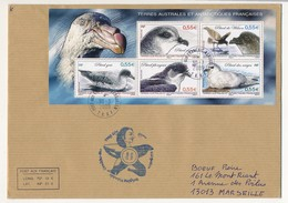 TAAF - Enveloppe Affr. Bloc 5 Timbres Petrel - Martin De Vivies, St Paul-Ams - 6/4/2009 + Cachet 59eme Exp - Lettres & Documents