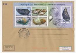 TAAF - Enveloppe Affr. Bloc 5 Timbres Mollusques Des TAAF - Kerguelen - Port Aux Français 1/1/2014 - Franse Zuidelijke En Antarctische Gebieden (TAAF)