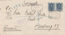 Espagne Lettre Recommandée Malaga Pour L'Allemagne 1925 - 1889-1931 Royaume: Alphonse XIII