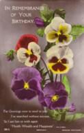 AL71 Greetings - Birthday, Pansies, Flowers - Birthday