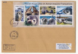 TAAF - Enveloppe Affr. Bloc 5 Timbres Otaries - Martin De Vivies - St Paul-Ams 1-1-2010 - Terre Australi E Antartiche Francesi (TAAF)