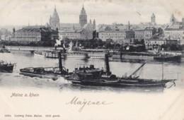 AO12 Mainz A. Rhein - General View, River With Paddle Steamer, UB - Mainz
