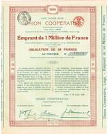 Titre Ancien - Parti Ouvrier Belge - Union Coopérative - Société Coopérative Ouvrière - Obligation De 1920 - N° 13898 - Actions & Titres
