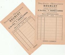 Neauphle-le-Château : Facture X 2 (vierge) De La Boucherie-Charcuterie BOURLOT, 16 Rue D'Orbec. - France