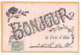 Cpa..(AIN)...bonjour De PONT D'AIN.... - Autres Communes