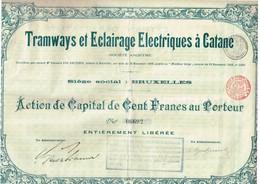 Action Ancienne - Société Anonyme -Tramways Et Eclairages Electriques à Catane - Titre De 1904 - N°06692 - Chemin De Fer & Tramway