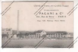 TRES RARE CPA Usine De TANLAY-GARE (89) : Etablissements Pagani & Cie PARIS Sciage, Taille, Moulurage, Pierres Marbres - Tanlay