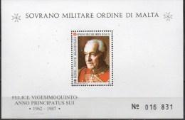 PIA - SMOM - 1987 : 25° Dell' Elezione Del Gran Maestro Fraì Angelo Di Mojana Di Cologna - (UN Foglietto 22) - Malte (Ordre De)