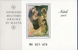 PIA - SMOM - 1984 : Natale - Affresco Di Pietro Lorenzetti - (UN Foglietto 18) - Malte (Ordre De)