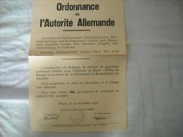 Odonnance Allemande Concernant L'introduction De La Monnaie Allemande 1940 - 1939-45