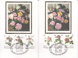 Série De 2 CM Sur Soie/op Zijde - Roses - Timbres N° 2370/5 - 1990 - Côté 60.00€ - 1981-1990
