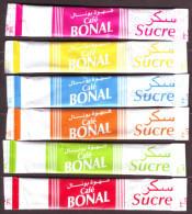 Sucre - 6 Sticks De Sucre Vides - Série Complète - Café BONAL - Algérie. - Zucchero (bustine)