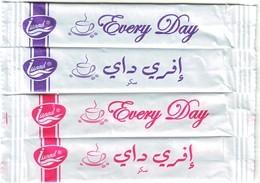"""Algérie - Sucre -  4 Sticks De Sucre Vides -  """"Every Day""""  - Anglais Et Arabe. - Sucres"""