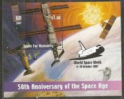 UN-New York. Scott # 947a, MNH S/sheet Overprinted. Space For Humanity. 2007 - New-York - Siège De L'ONU