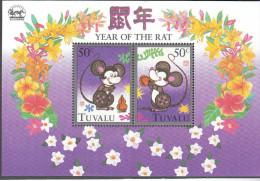 TUVALU, 1996 YEAR OF THE RAT MINISHEET O/P HONGPEX MNH - Tuvalu