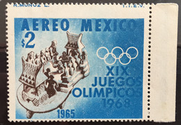 MEXICO 1965 $2 OLYMPIC GAMES Perf. Error, Imprint At Top, Mint NH, Rare Thus - Mexico